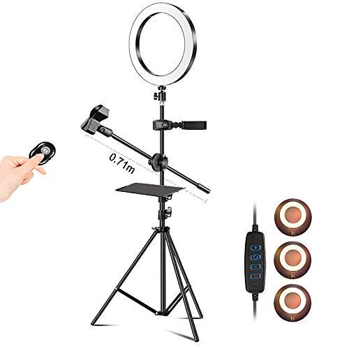 FACAZ Lámpara de Anillo con Soporte Anillo de lámpara de Selfie, lámpara de Maquillaje LED Regulable, Utilizada para Video de teléfono móvil, transmisión en Vivo, Fotos, C, 1,9 m