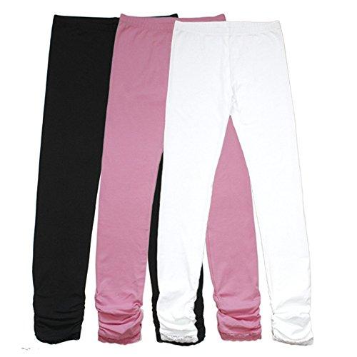Bienzoe BIENZOE Mädchen Strick Baumwolle Stretch Schuluniform 3 Leggings Packung 12
