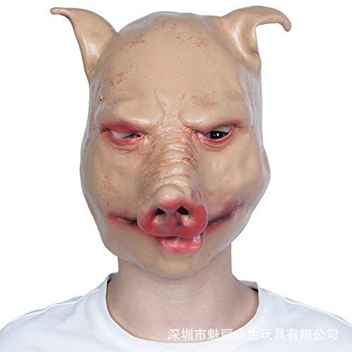 YBBGHH Schweinekopf-Maske für Halloween, Latex, Kopfbedeckung, Tanzparty beige