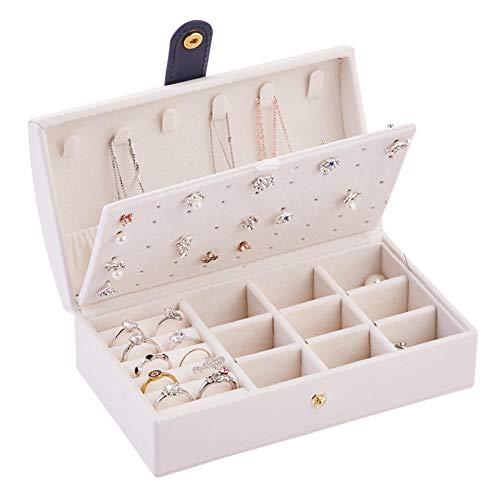 NFRADFM Caja de joyería,Caja de joyería portátil de cuero de la PU,2 capas pequeño anillo de pendiente caja de empaquetado multifuncional de la joyería