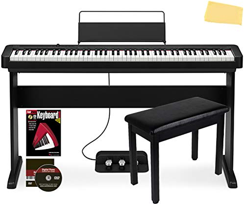 Casio CDP-S150 88-Key Compact Digital Piano Bundle with CS-46 Stand, SP-34 Three Pedal System, Furniture-style Bench, Instructional Book and DVD, and Austin Bazaar Polishing Cloth