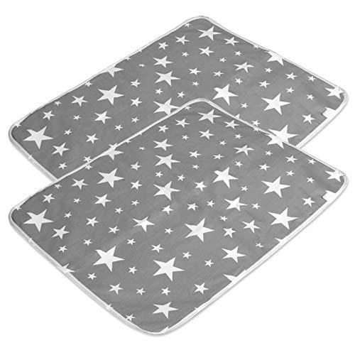 2 Stücke Waschbar Wickelunterlage für Babys und Kleinkinder (XL - 80 x 110 cm) - Atmungsaktiv, Wasserdicht, Wiederverwendbare Urin Matte Abdeckung