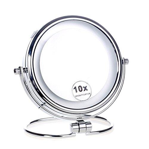 HIMRY LED Stand KosmetikSpiegel 6 Zoll, Batteriebetrieben, beleuchtedte Standspiegel Tischspiegel, Make-Up, Rasieren Spiegel, doppelseitigen 360 ° drehbar, 7 Fach Vergrößerung, KXD3137-7x