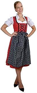 فستان Bavarian نسائي متوسط الطول من 3 قطع مع مريلة + بلوزة أسود أحمر