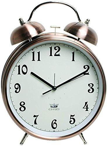 Een klok die de herinneringstijd kan instellen, Twin Bell Alarm Klok Batterij Bediend, Geen Ticking, geruisloos, Quartz Retro Bell Metal Enorme Alarm Klok 8 InchesC