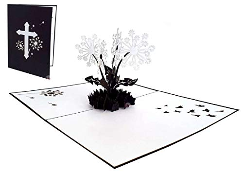 LIN17664, POP UP Karte Blumen, Trauer Grußkarte, Beileid Karten, Dankesagung, Kondolenzkarte, Gedenkkarte, Pusteblumen, N387