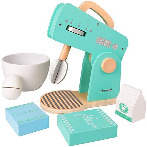 Rolimate Rührgerät aus Holz, Küchenspielzeug für Kinder Kochen Koch Rollenspiele Pädagogisches Lernen Spielzeug, Mixer mit Zubehör, Montessori Bildungsentwicklung Geburtstagsgeschenk für 345+ Jahre