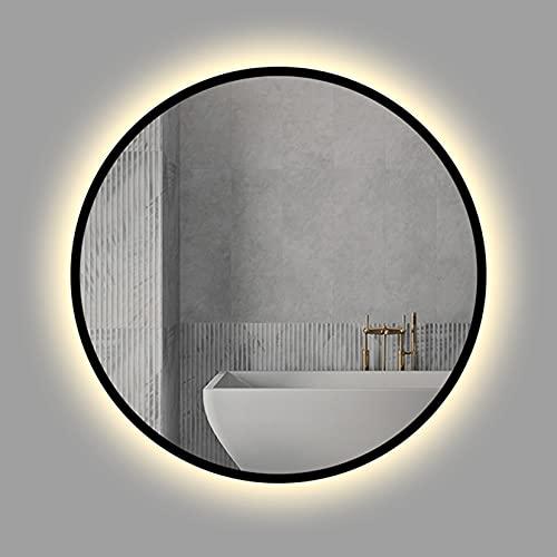 Espejo de baño LED Redondo, Espejo de Marco Negro con Luces para Pared, Espejo de tocador LED, luz Blanca/luz cálida, Espejo de Pared, 50cm / 60cm / 70cm / 80cm