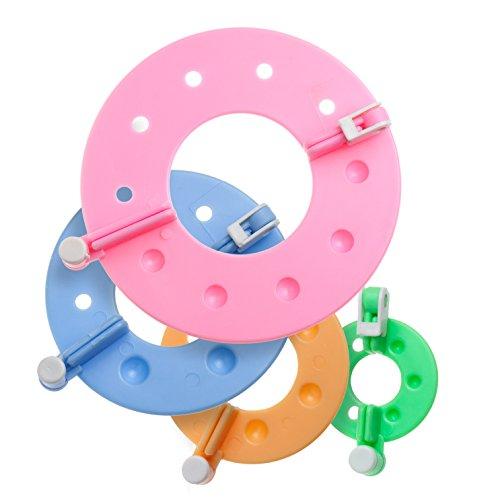 Faden & Nadel Pompon-Schablonen Set : 4 Pompons Maker (8 paarweise zusammengehörende Schablonen) aus Kunststoff in verschiedenen Größen