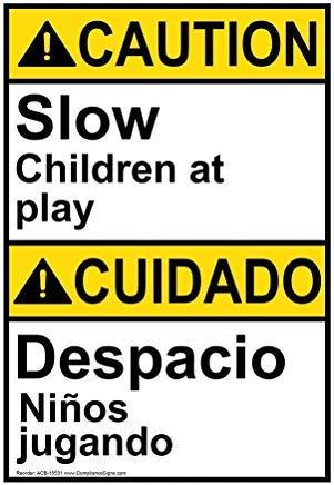 Wendana Voorzichtigheid Langzame Kinderen Op Spelen - Despacio Ni?Os Jugando Ansi Veiligheidsbord, Aluminium, Metalen waarschuwingsborden, Privébord, Kennisbord, 8