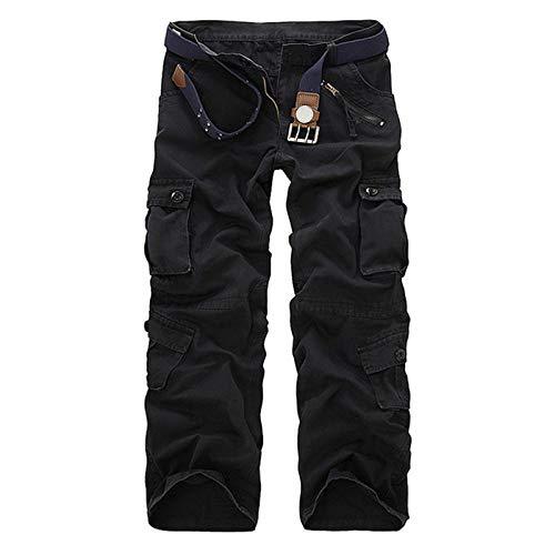 WDXPYA Pantalon Cargo Homme,Airborne Vintage Summer Loose Multi-Pocket Military Black Pants Fitness Casual Cotton Cargo Water Salopettes Male Pantalons, 34