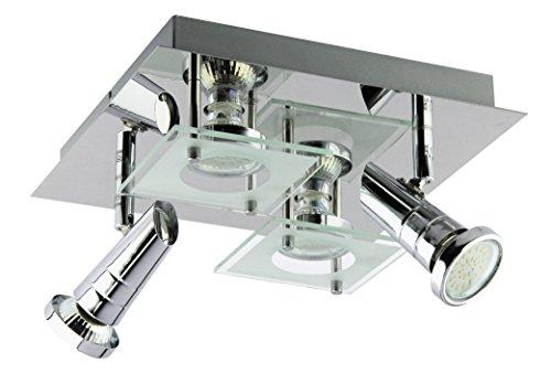 Trango TG3089 Led-design-plafondlamp, 4 lampen, badkamerlamp, plafondlamp, incl. 4x GU10 LED-lampen direct 230V