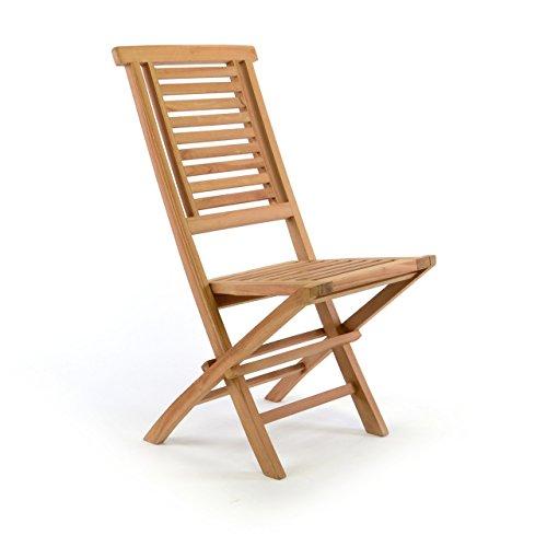 Divero Gartenstuhl klappbar Hantown aus Teak Holz massiv Klappstuhl (Teakholz, vorbehandelt)