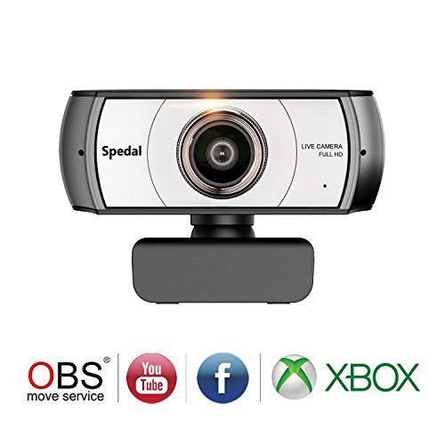 Spedal Full HD Webcam 1080p, Streaming Cámara Web con Micrófono, Ultra Gran Angular de 120 Grados, USB Webcam para Xbox OBS XSplit Skype Facebook, Compatible con Mac OS Windows 10/8/7