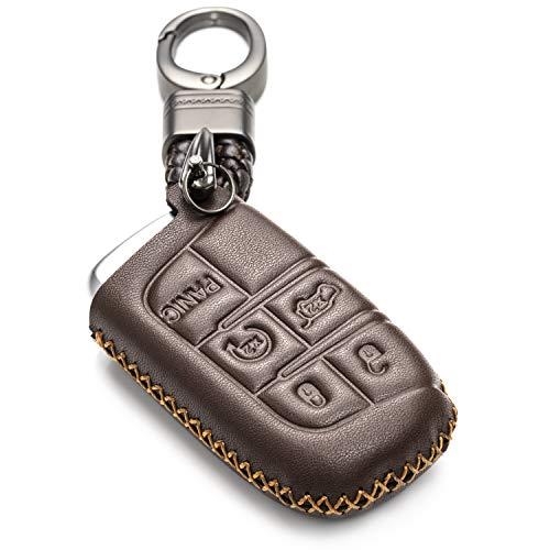 Vitodeco Schlüsselloses Schlüsselgehäuse aus echtem Leder, mit Schlüsselanhänger, für Jeep, Dodge, Chrysler, braun, 5 Buttons