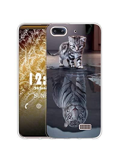 Sunrive Cover per Honor 4C/Huawei G Play Mini, Custodia Case in Molle Trasparente Silicone Morbida Flessibile AntiGraffio Protettiva Back custodie(TPU Gatto Tigre 2)