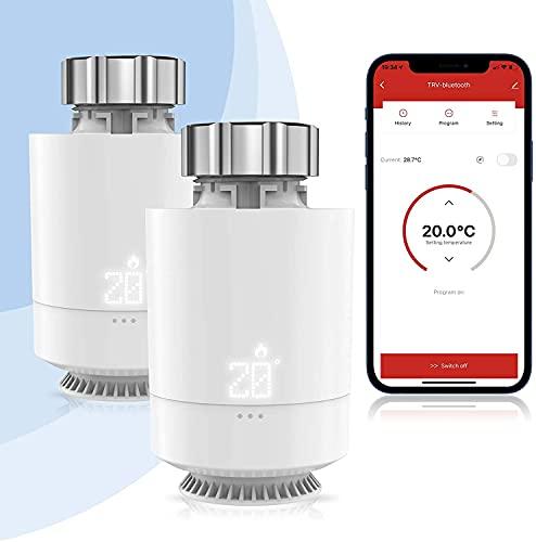 Smart Heizkörperthermostat, Etersky WLAN Heizung Thermostat, App Steuerung Kompatibel mit Alexa Google Home [Etersky Gateway Erforderlich] Temperatursteuerung mit LCD-Anzeige, M30 * 1,5 mm, 6 Adapter