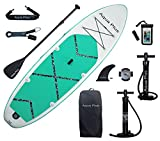 Aqua Plus 11ftx33inx6in Inflatable SUP for All Skill Levels Stand Up Paddle Board, Adjustable Paddle,Double Action Pump,ISUP Travel Backpack, Leash,Shoulder Strap,Youth,Adult Inflatable Paddle Board