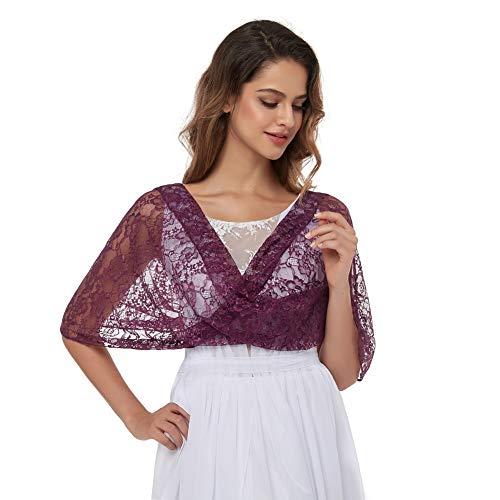 Pukguro Spitzenschal für Damen, Hochzeit, Brautschmuck, Bolero, Shrug Schal für Abendkleider - Violett - Einheitsgröße
