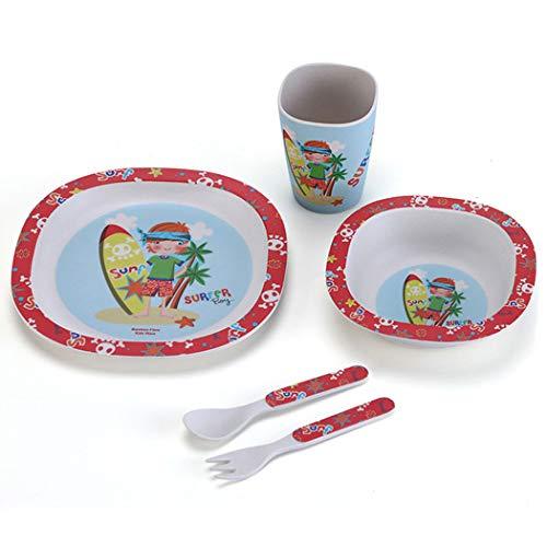 ZT Set vajilla Infantil de bambú sin BPA, 5 Piezas, Servicio de Mesa cubertería para niños Vaso de Beber Plato para niños, Ecológico y Biodegradable. (Surf)