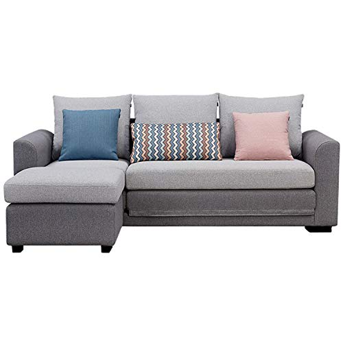 YUYTIN 3 Seaters Living Room Convertible Corner Sofa Bed With Footstool L-Shaped Couch with Modern Linen Fabric for Small Space,Light gray