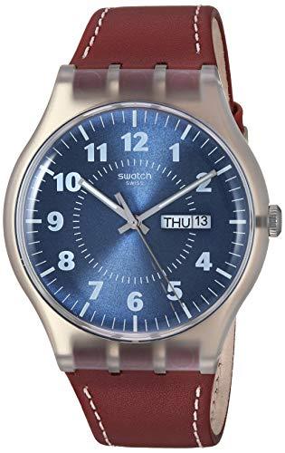 Swatch Reloj Analogico para Hombre de Cuarzo con Correa en Cuero SUOK709