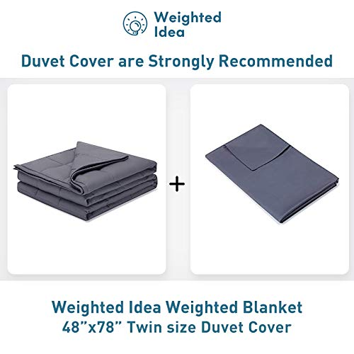 Weighted Idea Cool Weighted Blanket Twin Size 15 lbs Adults (48''x78'', 100% Natural Cotton, Grey)