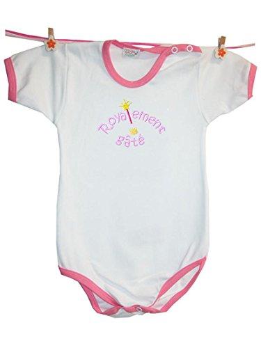 Zigozago - Body Bèbè à Manches Courtes pour bébé avec Broderie Princesse Taille: 0-1 Mois - Couleur: Rose - 100% Coton