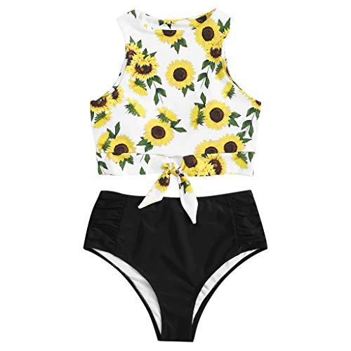 Damen Schwimmen Sport Yoga Fitness Tankini Shorts Strand Teilt Bikini Set Gefüllter Frauen BH Bademode Beachwear Bademode Badeanzüge Knoten Top Mit Badeanzug Hotpants (EU:40, Schwarz)