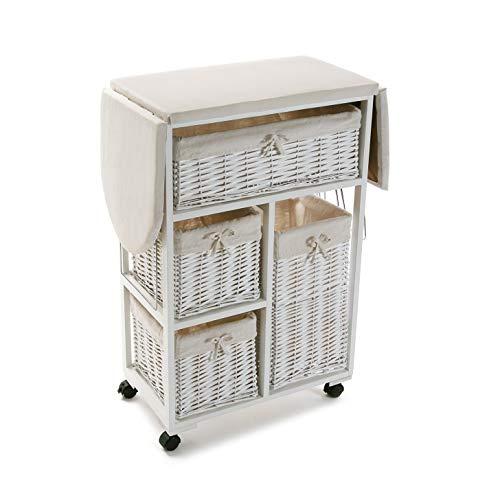 Versa 21160004 Mueble con Cestas Blanco Plancha, Madera y ratán, 85 x 36 x 135 cm