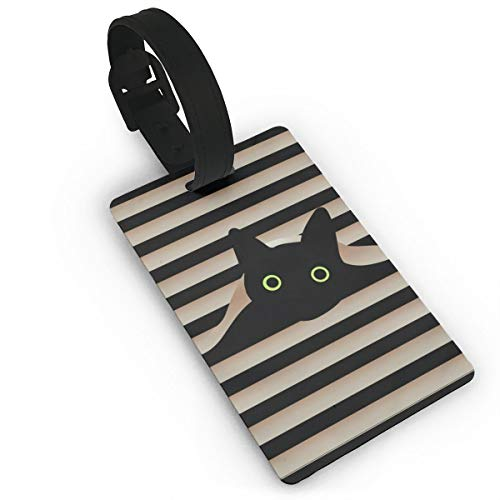 antspuent Black Cat in Window Luggage ID Tags Suitcase Carry-On Cards