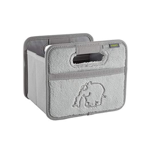 meori Faltbox Mini in Plüsch Grau mit Motiv Ottifant – Kleine Klappbox mit Griffen – Geschenkidee und Allzweck Aufbewahrungslösung - 1015239 - 16,5 x 12,5 x 14 cm