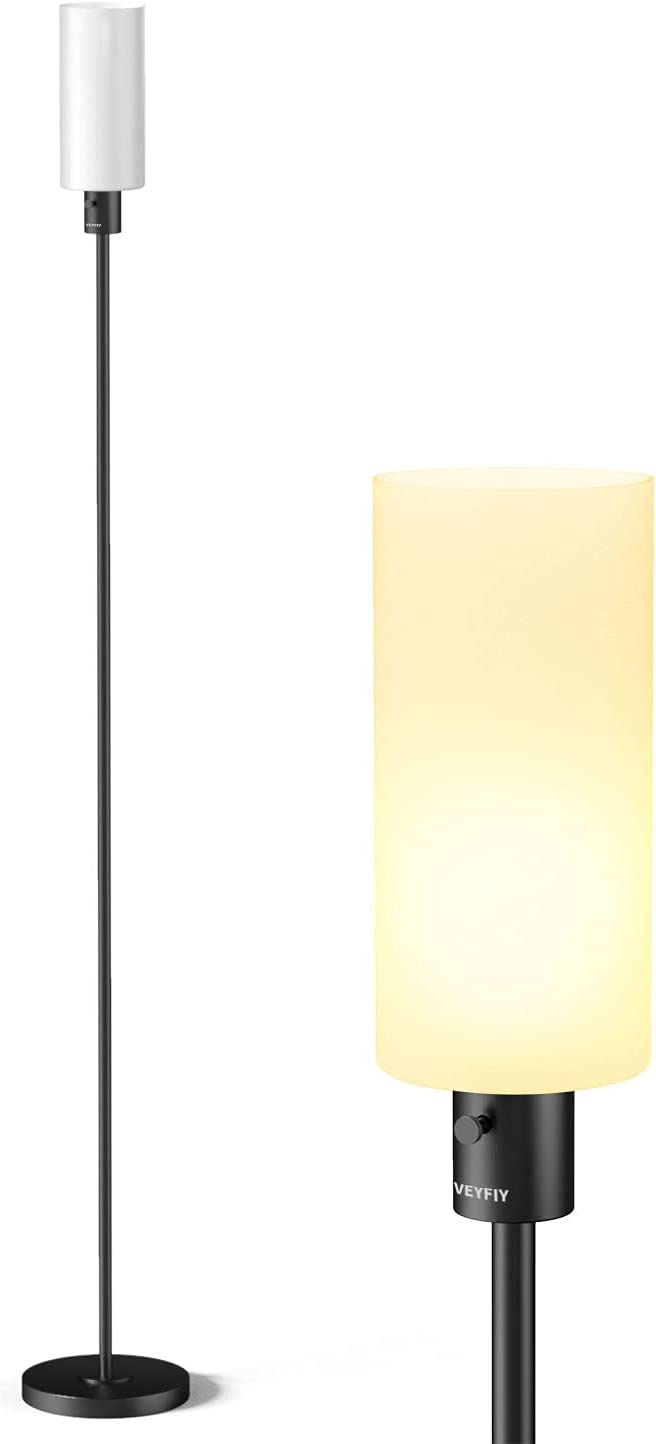 VEYFIY Floor Lamp, Lamps for Bedroom and Living Room, Modern Standing Light with Glass Lampshade, Industrial 68 inches Tall Lamp with E26 Socket, Light for Work, Reading, Black (Bulb Not Included)