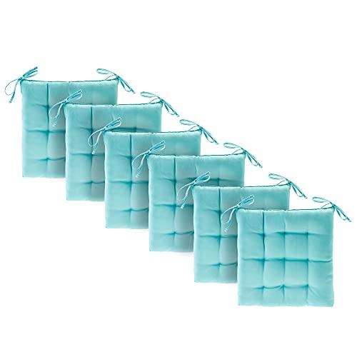 Etérea Basic - Cojines para silla con lazos, adecuados para interiores y exteriores, cojines para casa y jardín, juego de 6 unidades, 40 x 40 cm, color turquesa