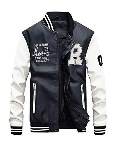 Herren Winterjacke Freizeitjacke Sweatjacke Wärmejacke Baseball Lederimitat Jacke Flieger Style Weiß XL