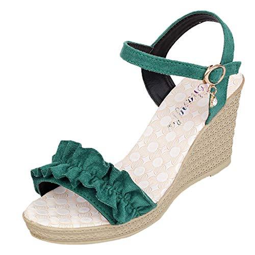 Berimaterry Sandalias Mujer Verano 2019 Fiesta Sandalias y Chancletas de tacón Alto Plataforma para Mujer,Playa Zapatos Bohemia Cinturón de Diamantes de imitación con cuña y Zapatillas