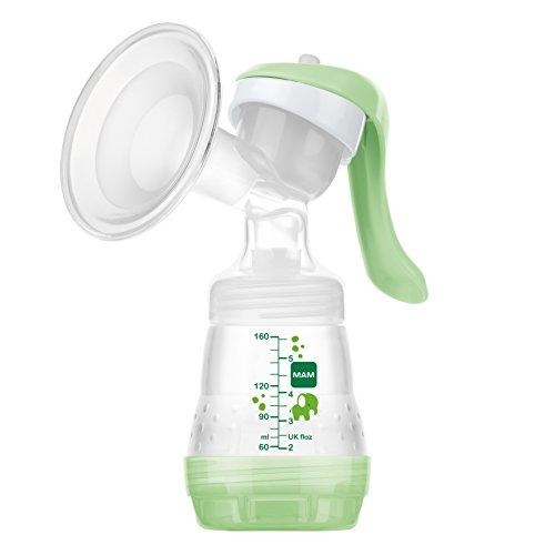 MAM Handmilchpumpe – Komfortable und kompakte Milchpumpe für effizientes, schonendes Abpumpen – Handpumpe für Muttermilch inkl. 2 Flaschen
