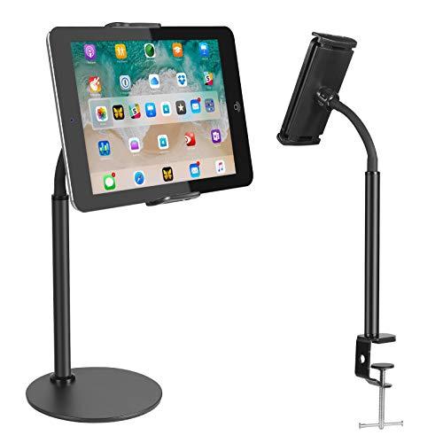 Zacro Tablet Halterung, Tablet Ständer Handyhalter für Smartphones & Tablets von 5.1-9.4 Zoll, Verstellbarer Multifunktionshalter, Schwarz