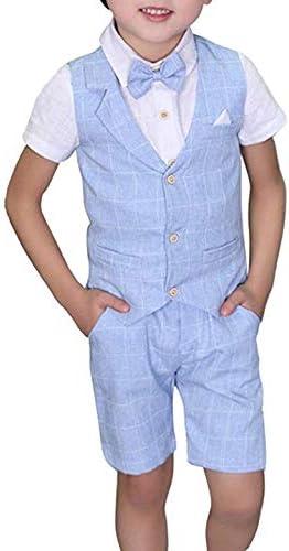Toddler Boys Summer Suits Set Vest Pants Shirt Bow Tie 4 Pieces Plaid Shirt Clothing Set product image