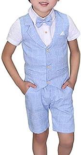 Yilaku Toddler Boys Summer Suits Set Vest Pants Shirt Bow Tie 4 Pieces Plaid Shirt Clothing Set