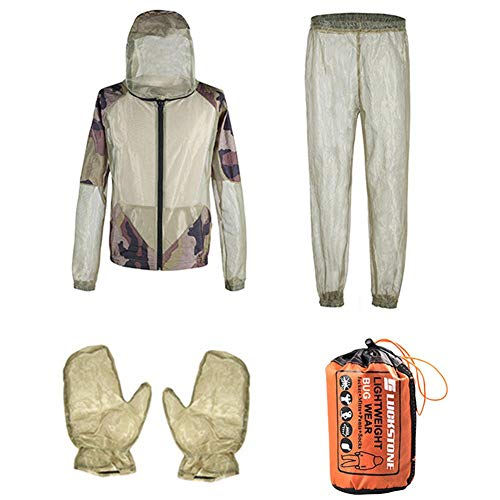 Julymoda Outdoor Camo Mosquito Suit Net Jacket Trousers Gloves Set Whole Body Protection for Camping Fishing Jungle Beekeeping S/M