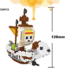 Stacking Blocks - Hot anime one piece Going Merry pirate ship micro diamond building block assemble model nano bricks toys for kids gifts (without original box)