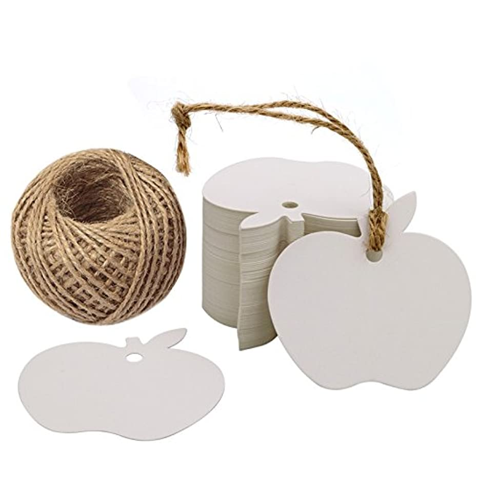 Paper Gift Tag for G2PLUS White Kraft Gift Tags 100 PCS Wedding Party Favor Tags with 100 Feet Natural Jute Twine