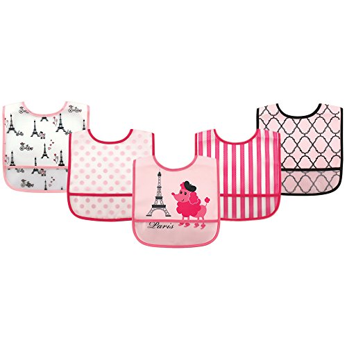 Luvable Friends (ラバブルフレンズ) Waterproof Bib with Crumb Catcher Pocket Luvable Friends ラバブルフレンズ ポケット付き 防水エプロン 5枚セット 食事用 ビブセット Poodle プードル