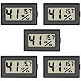 Mini Hygrometer, 5-Pack Small Thermometer Hygrometer Digital LCD Monitor Indoor Outdoor Humidity Meter