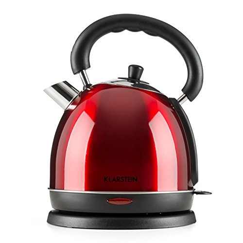 Klarstein Teatime Hervidor de agua - Inalámbrico, Tetera eléctrica, Diseño tetera retro, Acero inoxidable, 1,8 L, 1850-2200 W, Filtro antical lavable, Rojo