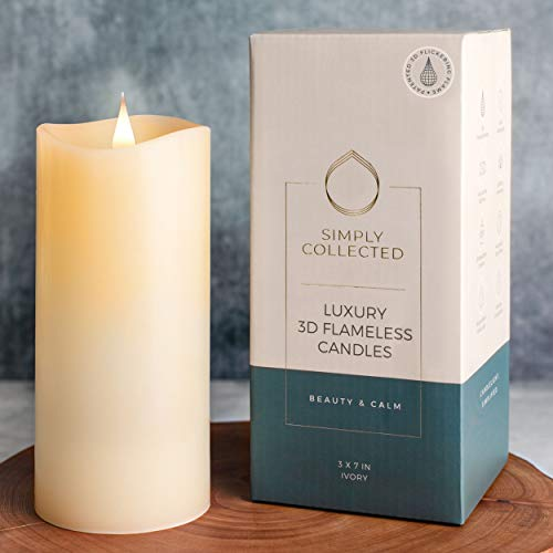 Simply Collected | 3D Flickering Flameless Candles Battery Operated | 800+ Hours Bright Warm-White Flame - 360 Degree Wax Pillar | Large Battery Operated Candles with Timer | LED – Ivory, 3x7 Inches