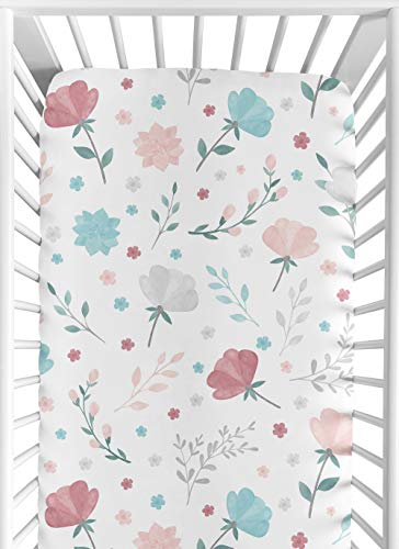 Sweet Jojo Designs Floral Rose Flowers Girl Fitted Crib Sheet Baby or Toddler Bed Nursery - Blush Pink Teal Turquoise Aqua Blue Grey Pop Flower Boho Shabby Chic Modern Colorful Watercolor Roses