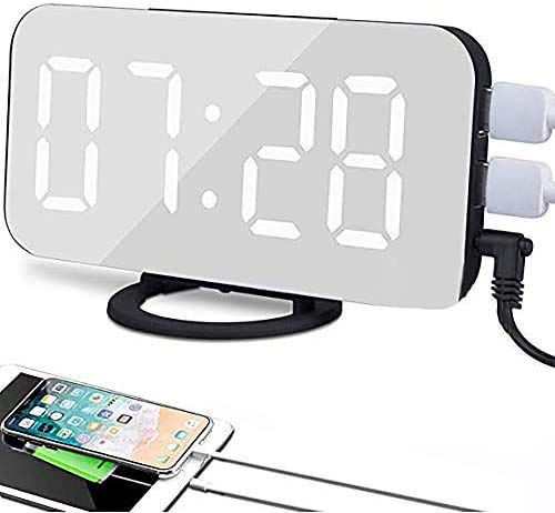 JOYEEN Sveglia Digitale LED, Sveglia da Comodino, Display LED da 6,5 , con Funzione di Snooze Luminosità Regolabile Superficie a Specchio Sistema 12 24 Ore, 2 Porte di Ricarica USB (Black)