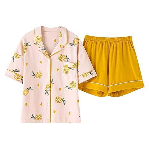 Verano 2020 Conjuntos de Pijamas Sueltos para Mujer con Estampado de Jirafa de Dibujos Animados Conjunto de 2 Piezas Top de Manga Corta + Pantalones Cortos Pijamas de Cintura elástica